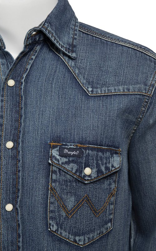 309589407f3 Wrangler® Cowboy Cut® Long Sleeve Western Snap Indigo Slub Denim Shirt  MS1039W