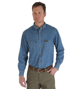 Wrangler® RIGGS Workwear® Long Sleeve Button Down Solid Denim Work Shirt Antique 3W510AN