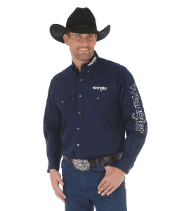 Wrangler® Logo Long Sleeve Button Down Solid Shirt MP2327N
