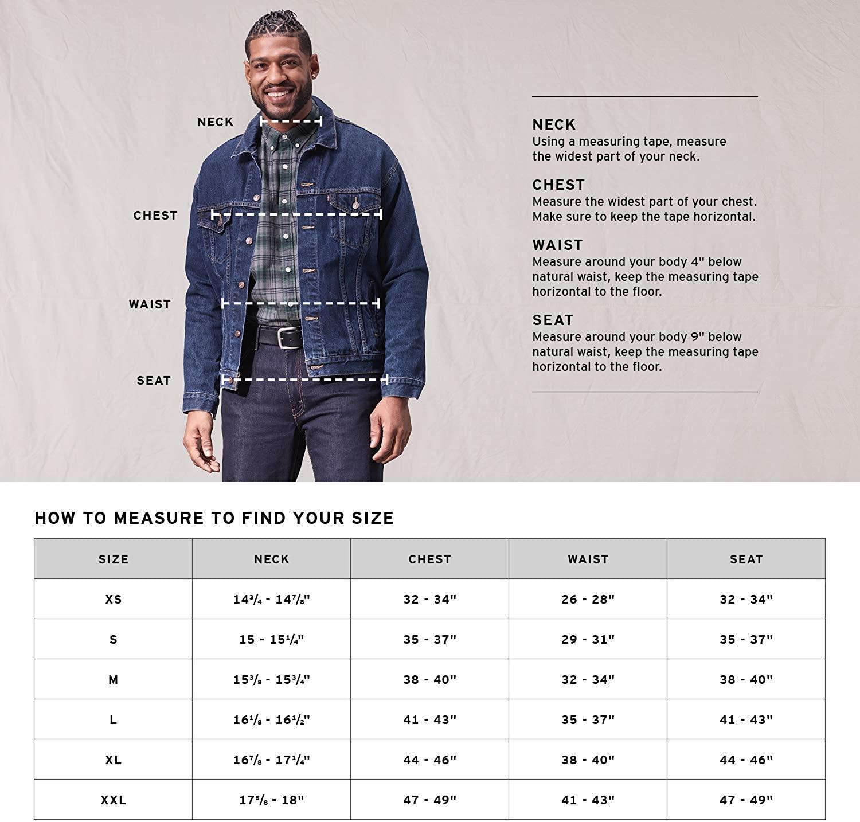 Размерная сетка куртки Levi's