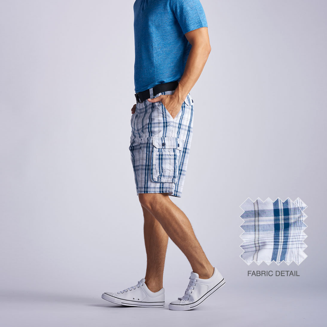 Lee Wyoming Cargo Short Blue Conner Plaid 1